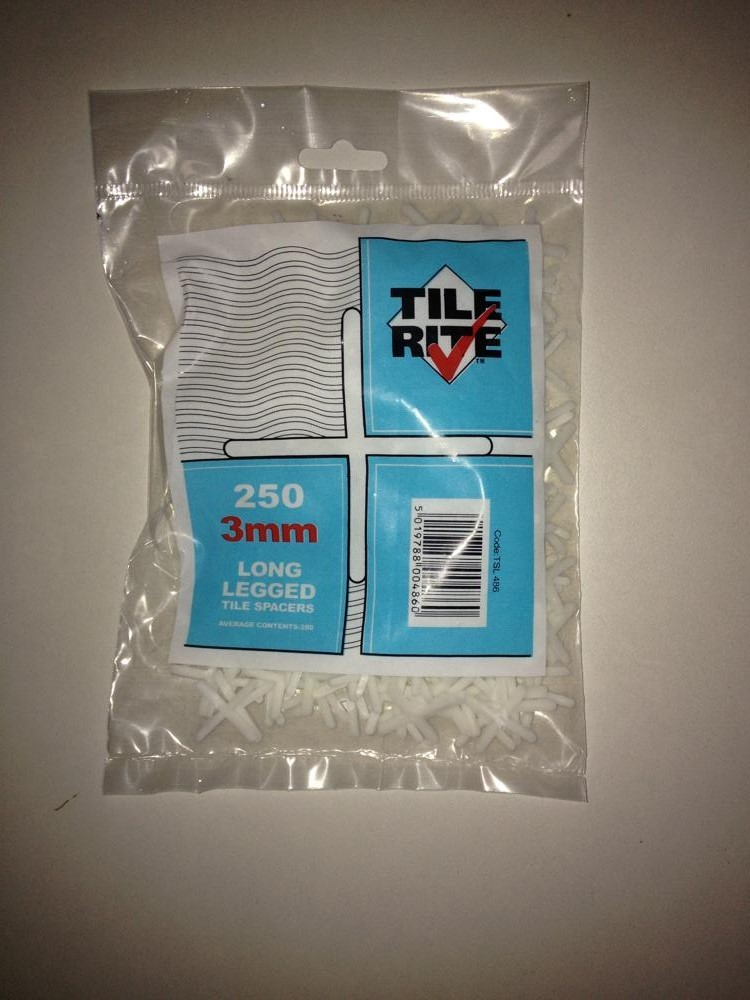 3mm Long Leg + Tile Spacers Bag of 250