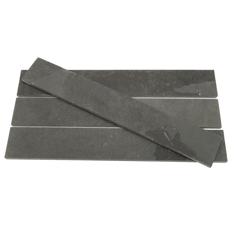 600 x 120 x 10mm Brazilian Black Riven Slate Strips