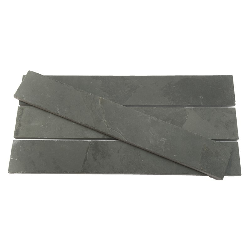 600 x 120 x 10mm Brazilian Grey Riven Slate Strips