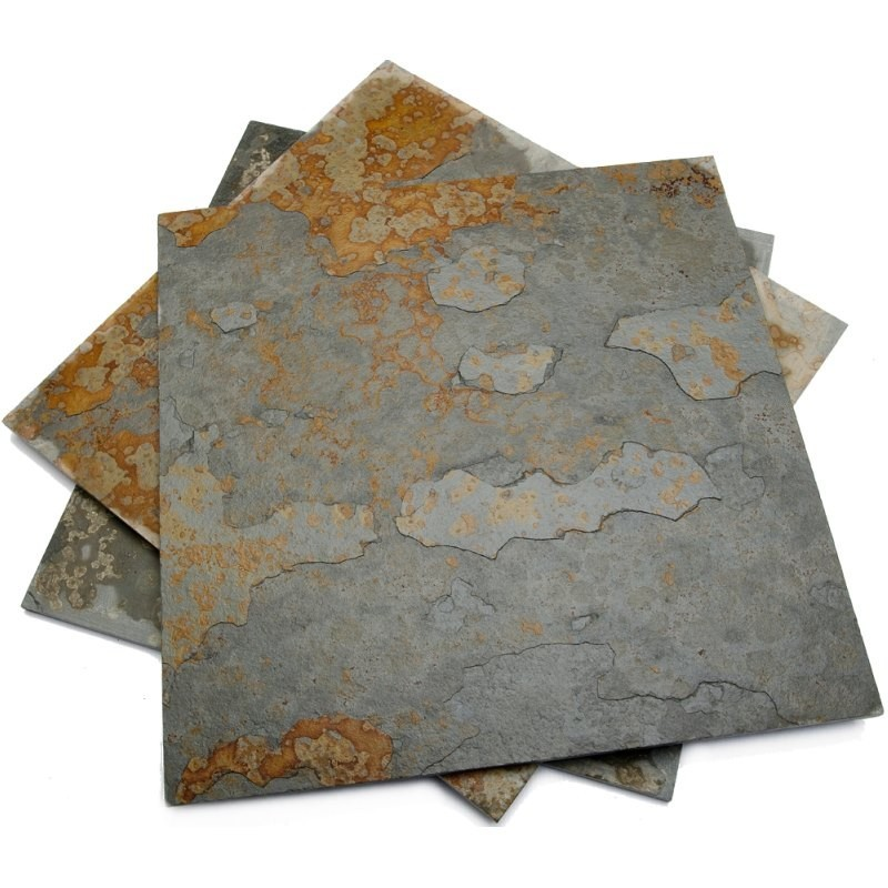 600 x 600 x 10mm Brazilian Multicolour Handsplit Riven Slate