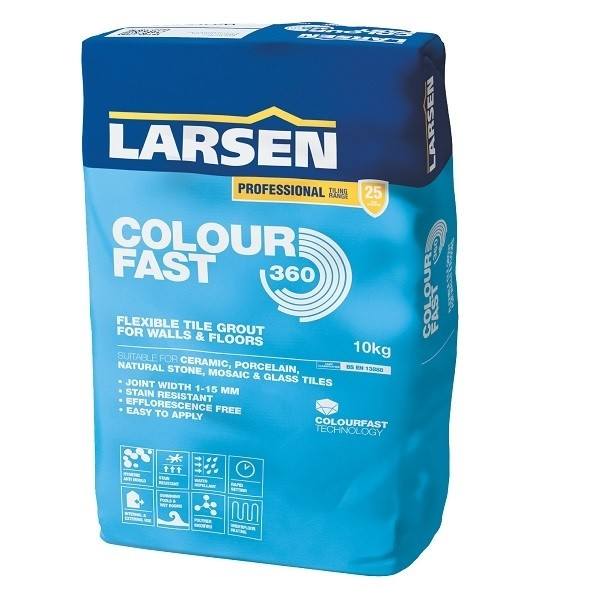 Larsen Colourfast 360 Flexible Tile Grout Grey 3KG