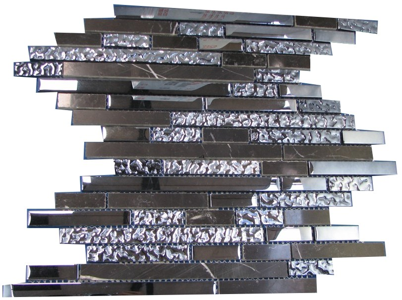 Style Chrome and Black Stone Mosaic Sheet