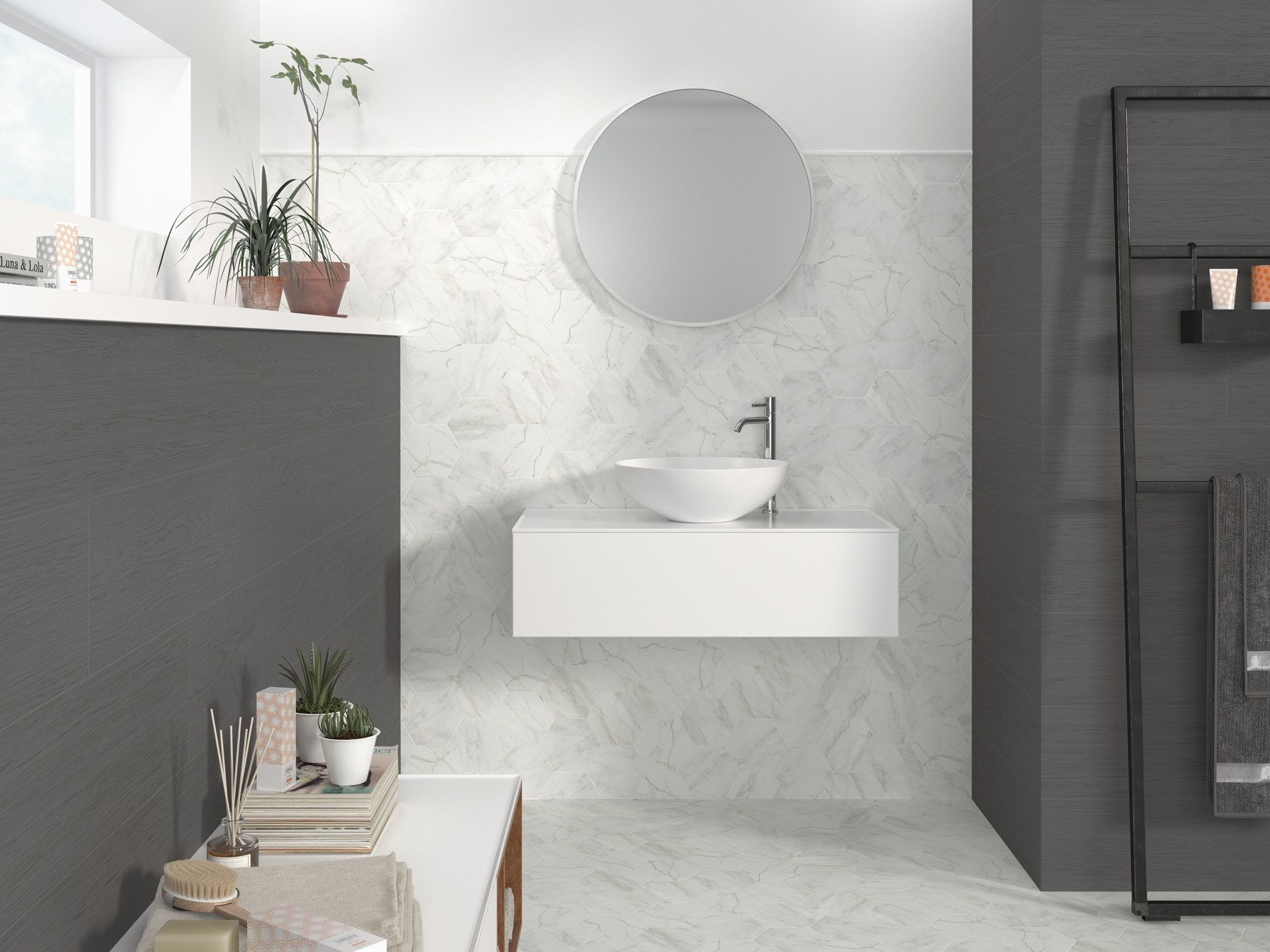 Hexagon Verona White Marble Effect 139 x 160mm