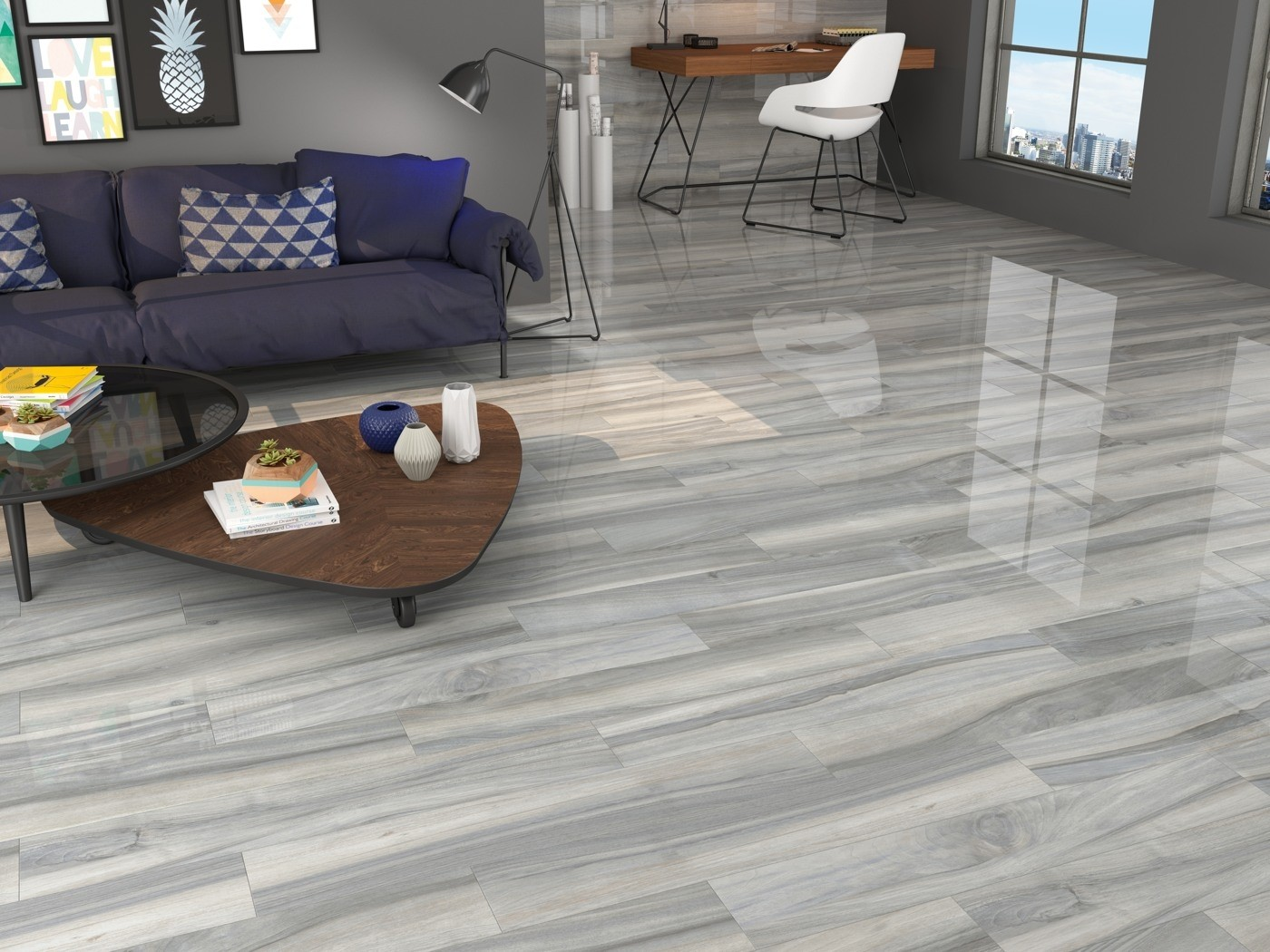 Time Grey Wood Effect Polished Porcelain 1200 x 200mm