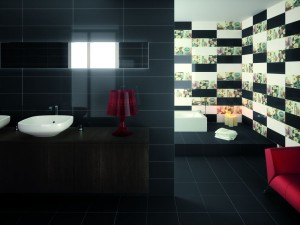 Black Wall and Floor Tiles