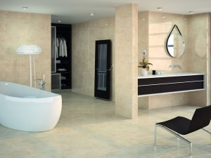 Beige Wall and Floor tiles