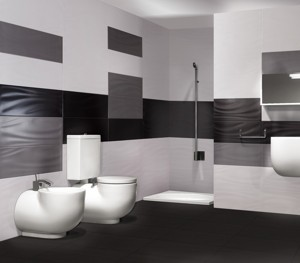 soft black and white bathroom wall tile