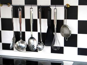 kitchen with black and white tiles