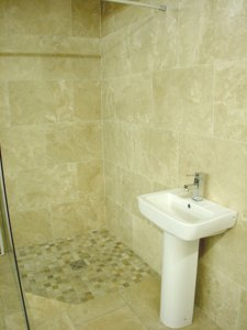 travertine wet room setting